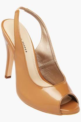 LEMON & PEPPER Womens Casual Slipon Peep Toe Heel Sandal  ...