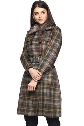 Womens Synthetic Fur Collared Check Coat