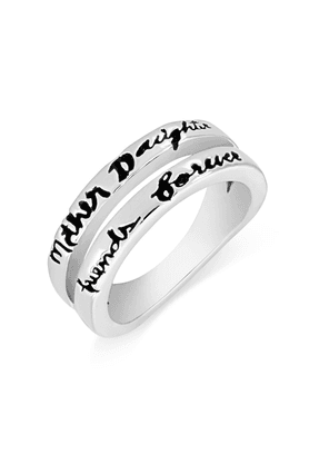 MAHIMahi Rhodium Plated Mother's Day Special Mother-Daughter Ring For Women FR1100632R
