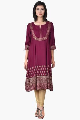 JUNIPER Women Long Kali Kurta With Pin Tucked Yoke