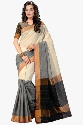 ASHIKA Womens Colour Block Golden Weave Saree