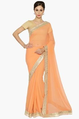 Women Thread Embroidery Georgette Saree