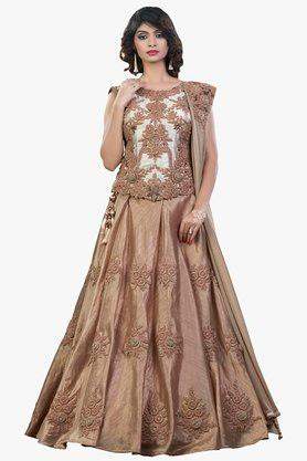 MAHOTSAV Womens Resham Embroidered Semi Stitched Lehenga Choli Set - 201754605