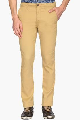 ALLEN SOLLYMens Slim Fit 4 Pocket Solid Trousers