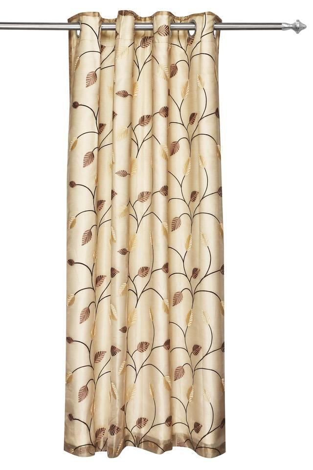 Embroidered Sheer 2 in1 Leaf Door Curtain