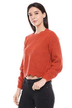Womens Designer Neck Solid Knitted Pullover