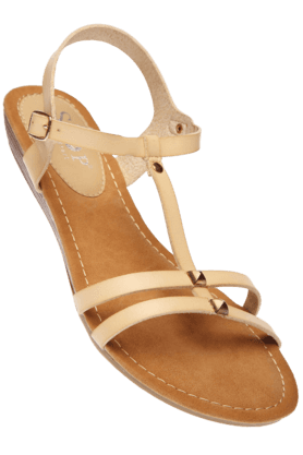 STOP Womens Natural Venessa Ankle Closure Wedge Sandal