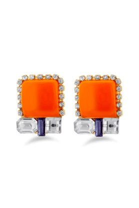 JAZZGold Plated White Stone Stud Red Colour Earrings