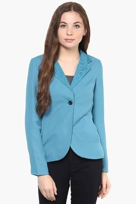 THE VANCA Womens Solid Lace Notched Lapel Jacket