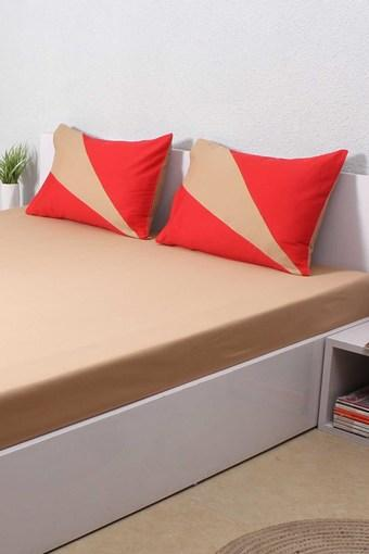 The Bright Vision 100% Cotton Single Bed Sheet - Beige