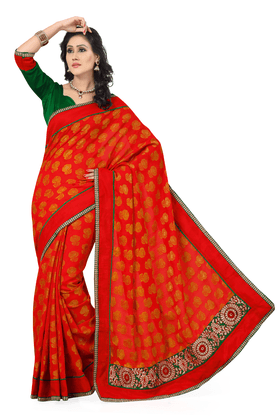 DEMARCA Women Silk Designer Saree - 9874439