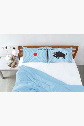 "STOA PARIS Blue Pillow Fight Target Bull Bed Linen (Pillow Cover 18"" X 27"" (2 Pcs)"