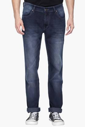Mens 5 Pocket Mild Wash Check Jeans