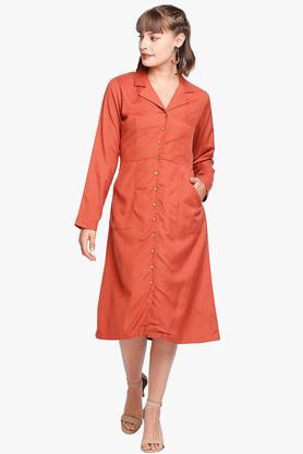 Womens Notched Lapel Solid Shirt Dress
