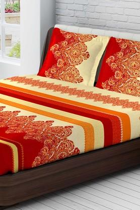 TANGERINEFete Extravagant Cotton King Bedsheet With 2 Pillow Covers - Red & Yellow