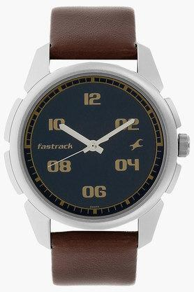 FASTRACKMens Blue Dial Leather Strap Watch