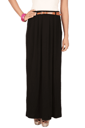 ONLY Women Cotton Solid Long Skirt