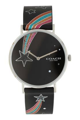Womens New York Black Dial Leather Analogue Watch