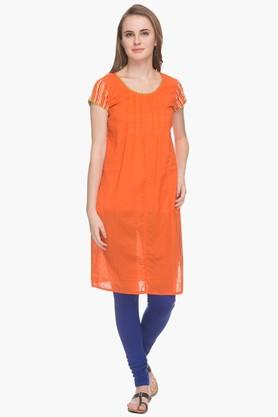 BOHEMYAN BLUE Womens Round Neck Solid Pintuck Kurta