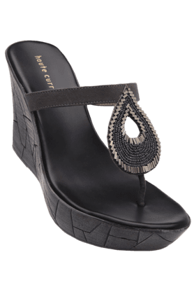 HAUTE CURRY Womens Grey Platform Sandal