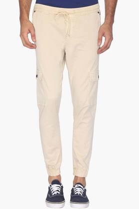 Mens Slim Fit 6 Pocket Solid Joggers (Steven Tapered Fit)