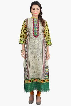 JASHN Womens Lace-detailed Printed Kurta