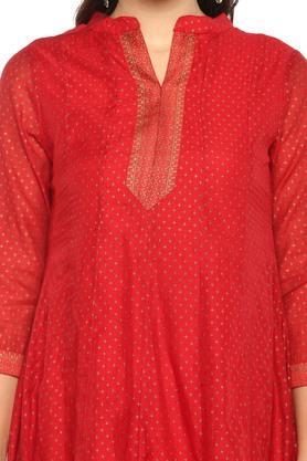 Womens Mandarin Collar Printed Churidar Suit