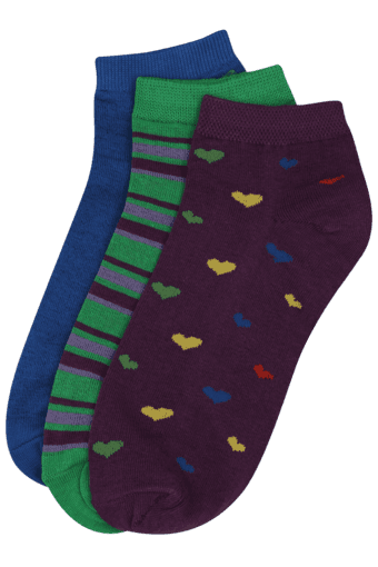 Women Assorted Ankle Socks (Set Of 3)