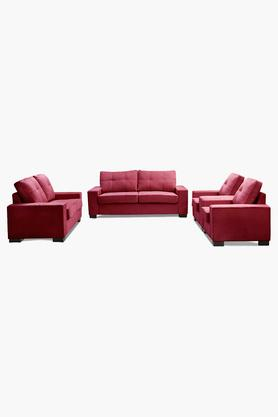 Carmine Maroon Fabric Sofa (3-2-1-1 Sofa Set)