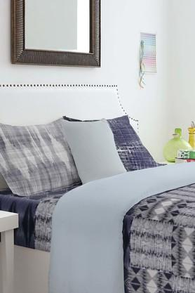 SPACESYouthopia Dark Blue 180 TC Cotton Single Bed Sheet With 2 Pillow Cover