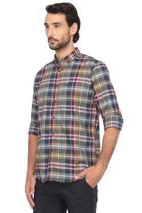 Mens Button Down Collar Check Classic Shirt