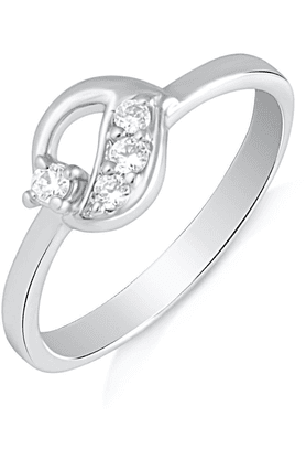 MAHI Mahi Rhodium Plated Elegant Eva Finger Ring With CZ For Women FR1100495R