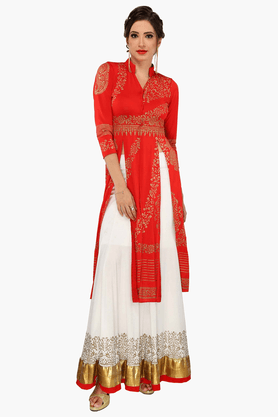IRA SOLEILWomens Printed Long Blouse And Skirt Set
