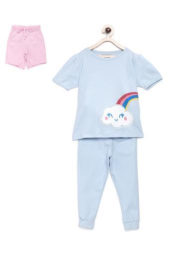 Girls Round Neck Rainbow Print Tee Joggers and Shorts Set