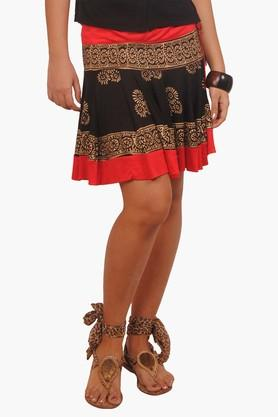 IRA SOLEIL Womens Flared Printed Skirt (Buy Any Ira Soleil Product And Get A Necklace Free) - 201787644