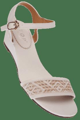 STOPWomens White Jade Ankle Closure Wedge Sandal