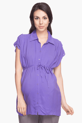 NINE MATERNITY Womens Regular Fit Solid Shirt