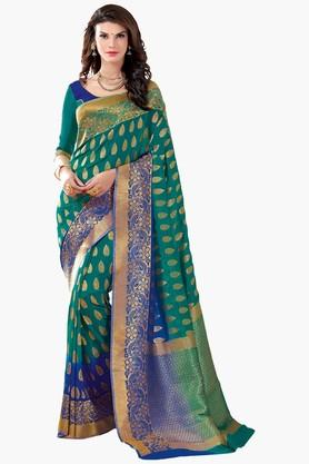 ASHIKA Womens Colour Block Golden Weave Saree - 201773711