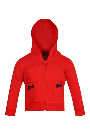 Girls Hooded Neck Solid Sweatshirt