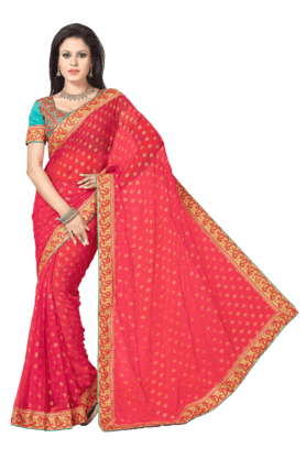 DEMARCA Women Faux Chiffon Saree (Buy Any Demarca Product & Get A Pair Of Matching Earrings Free)