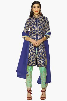 Womens Mandarin Neck Embroidered Semi Stitched Suit - 202531382