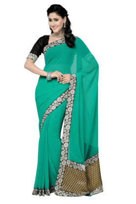 DEMARCA Womens Faux Georgette Saree (Buy Any Demarca Product & Get A Pair Of Matching Earrings Free)