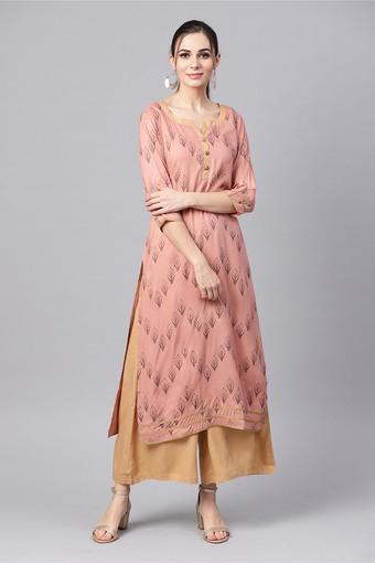 Buy Idalia Womens Rose Gold Printed Kurta With Solid Camel Palazzo Pants Shoppers Stop