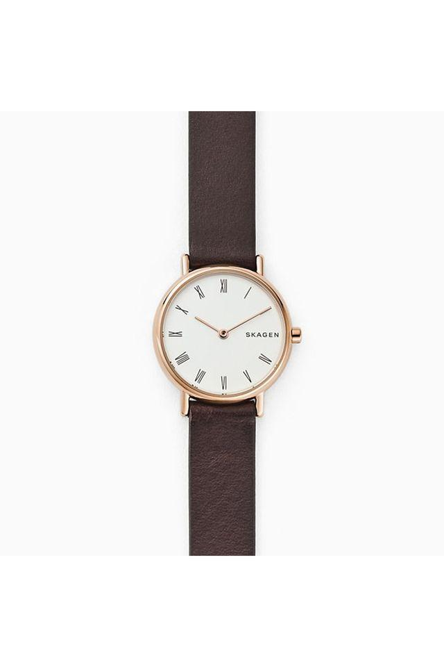 Womens Signatur White Dial Leather Analogue Watch - SKW2760