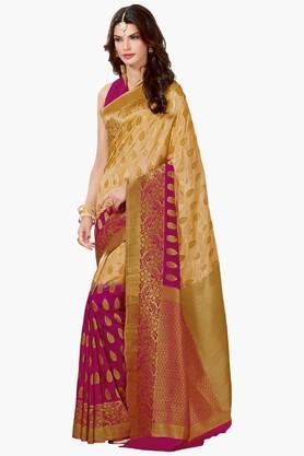 ASHIKAWomens Colour Block Golden Weave Saree