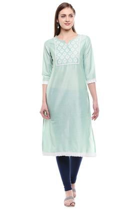 Womens Notched Embroidered Kurta