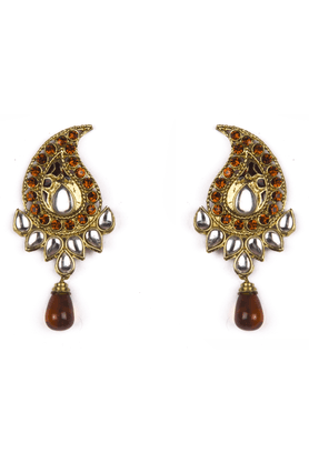 TRIBAL ZONE Paisley Ethnic Earrings With Orange Stones And Kundan, Orange Drop Shaped Bead Hanging