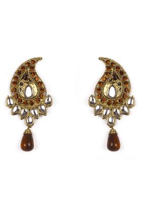 TRIBAL ZONEPaisley Ethnic Earrings With Orange Stones And Kundan, Orange Drop Shaped Bead Hanging