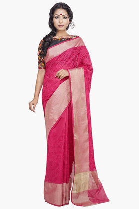 JASHN Womens Embroidered Saree With Blouse Piece