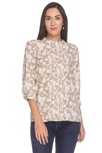 Womens Band Collar Floral Printed Top
